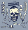 set of the barbershop and skull element vector image