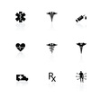 Medical icons black on white with reflections vector image vector image