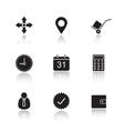 Delivery service drop shadow icons set vector image