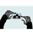 Selfie Monkey Black Gorilla photographs Animal and vector image