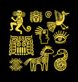 aztec ancient animal golden symbols vector image