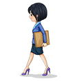 A businesswoman walking while holding the vector image vector image