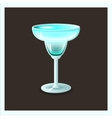 blue cocktail in glass - vector image