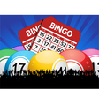 Bingo Balls cards and crowd on blue background vector image vector image
