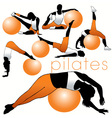 pilates silhouettes vector image vector image