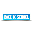 back to school blue 3d realistic square isolated vector image