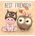 Cute cartoon baby and owl vector image