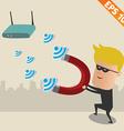 Hacker on wireless network - - EPS10 vector image