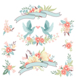 Hand drawn floral collection with design elements vector image