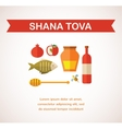 set of Jewish new year icons Happy New Year Hebrew vector image