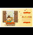 Hello autumn background with little girl vector image