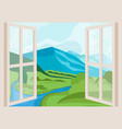 mountain peaks and river open window with a vector image