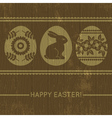 wooden background with easter eggs vector image