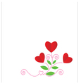 Red paper hearts Valentine day card on white vector image