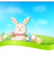 Easter card with eggs and rabbit vector image vector image