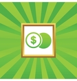 Dollar coin picture icon vector image