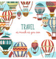 retro cartoon flying air balloon banner or sign vector image