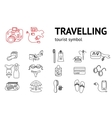 Set of line travel icons Tourism trip vacation vector image