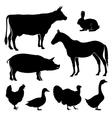 Farm farmyard animals silhouettes vector image
