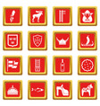sweden travel icons set red vector image