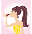 woman coffee vector image vector image