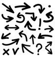black arrow icon set isolated on white background vector image