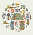 Camping Line Art Icons vector image