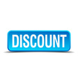 discount blue 3d realistic square isolated button vector image