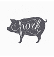 Hipster style pig silhouette Pork meat hand vector image