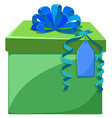 Present box with blue ribbon vector image