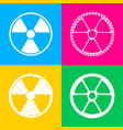 radiation round sign four styles of icon on four vector image