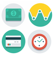 flat icons dollars watch credit card vector image