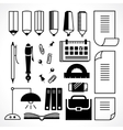 stationery icons vector image vector image
