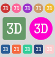 3D sign icon 3D-New technology symbol 12 colored vector image