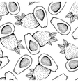 Seamless monochrome pattern of avocado vector image
