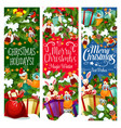 christmas gift with new year garland banner design vector image