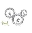 Hand drawn business people running in cogwheels vector image