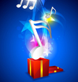 music floating from gift box vector image
