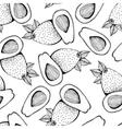 Seamless monochrome pattern of avocado vector image