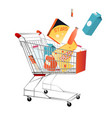 shopping trolley with purchases isolated on white vector image
