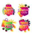 summer sale labels with colorful elements sun vector image