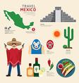 Travel Concept Mexico Landmark Flat Icons vector image