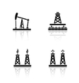 Oil platforms drop shadow icons set vector image