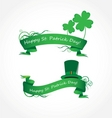 vector green ribbon with clover vector image