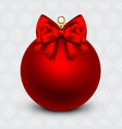 Red Christmas ball with a bow on holiday vector image