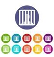 Man behind jail bars set icons vector image