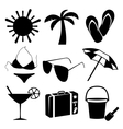 Summer and beach icons on white background vector image