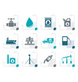 stylized oil and petrol industry objects icons vector image vector image