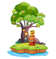 An island with three monsters under the giant tree vector image vector image