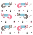 Pattern with cats in frock vector image